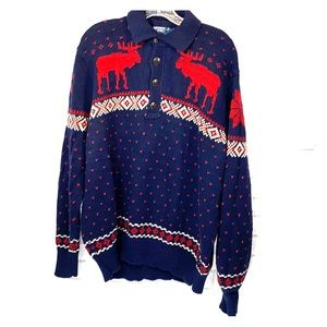 Polo by Ralph Lauren blue/red moose sweater XL